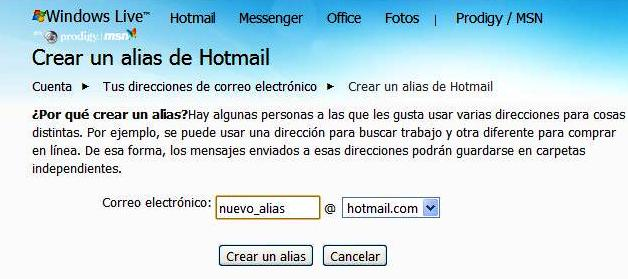 how to add alias hotmail