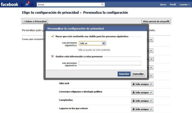 modo de cambiar configuracion privacidad facebook