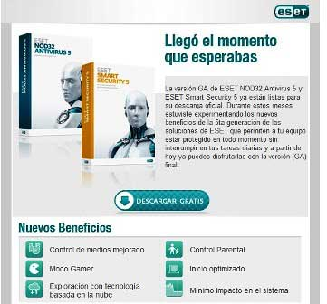 Descargar ESET Nod32 Antivirus 5 y ESET Smart Security 5