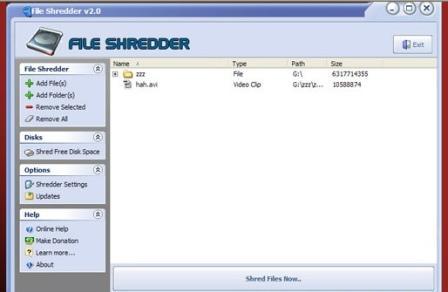 borrar archivos file shredder
