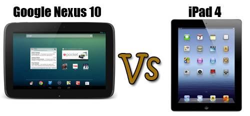 nexus 10 contra ipad 4